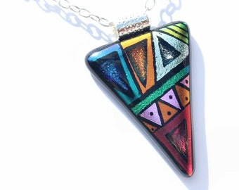 Dichroic Glass Pendant, Fused Glass Jewelry, Necklace; Modern, Geometric, Bold, Tribal - Bright, Colorful / 56mm x 36mm (Item #10721-P)