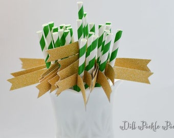 Green & White Stripe Paper Straws with Gold Glitter Flags - 24 count