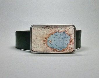 Belt Buckle Crater Lake Oregon National Park Vintage Map Cool Gift for Men or Women
