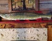 """Northern Pike taxidermy 54"""" chainsaw wooden trophy fish carving rustic lake house fishing decor wall mount indoor outdoor lodge art"""