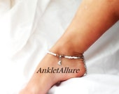 Tropical Beachy Feet Foot Charm Anklet Shell Ankle Bracelet Beach Resort Cruise Vacation