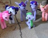 My Little Pony Inspired Mane 6 and Spike Bundle - Crochet Amigurumi OOAK Dolls
