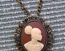 1 dz wholesale african cameo necklace brooch pin combo comes gift boxed 25x18mm cameo 20in bronze  chain included   F138