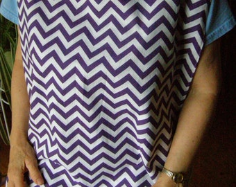 Purple Chevron Adult Shirt Protector Bib reversible Special Needs Apron extra long