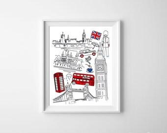 British Guards London Bus Big Ben Union Jack tea Kids Room Art Print Red Royal Blue England English UK wall decor