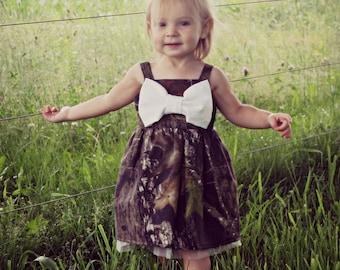 Camo Baby Girl Big Bow Dress with Matching White Headband - Mossy Oak Camoflage