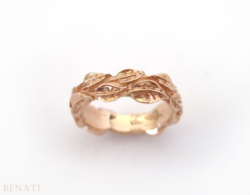 rose gold leaves ring wedding zoom - Leaf Wedding Ring