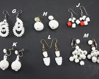 Vintage White Milk Glass Earrings Bridal Wedding Jewelry