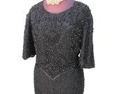 "Vintage 80s Black Beaded Sequin Dress Size 1X Plus Lawrence Kazar Beaded Cocktail Evening Dress 44"" Bust Silk Short Sleeve Round Neck Dress"
