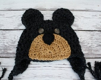 Black Bear Hat - Baby Bear Hat - Baby Hats - Bear Hat- Halloween Costume - Yellowstone Black Bear Hat - by JoJosBootique
