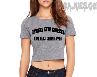 Grey Dance All Night Sleep All Day Crop Top