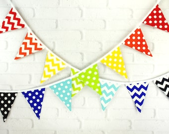 Rainbow Polka Dot Chevron Fabric Pennant Bunting Banner - great for cake smash photos, birthday party decor, nursery, playroom, photo prop