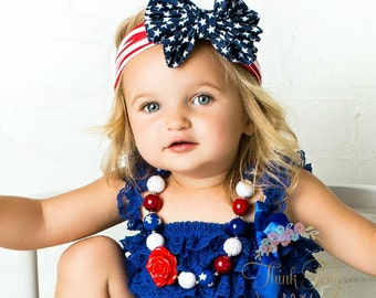 July 4th Girls Chunky Necklace, July 4th baby headband, Girls Bubblegum necklace,Patriotic Headband,Girls Necklace, Patriotic necklace.