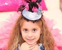 Birthday hat, baby girl hat, girl hat, Black and Hot Pink Mini Peacock Top Hat, flower girl, tea party