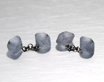 Cufflinks of Matte Blue Crystal, Handmade, Custom made, Cufflinks