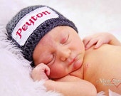 Crochet Baby Personalized Name Cross Stitch Beanie - Newborn to 3 months - Charcoal - MADE TO ORDER