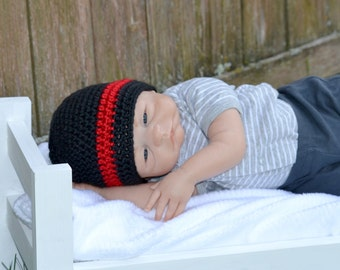 Crochet Baby Fire Ems Thin Red Line Beanie - Newborn to 10 years - Black and Red - MADE TO ORDER