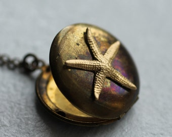 Starfish Locket Necklace ... Star Pendant Starfish Necklace