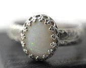 Natural White Opal Ring, Engravable Silver Ring, Coober Pedy Opal Ring, Personalized Ring, Australian Opal Jewelry, Natural Gemstone