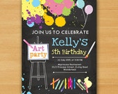 Art Birthday Party Invitations any age for kids birthday invitation Party invitation invite Fun Happy 5th 6th 7th 8th art party - card 518