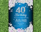 Glam birthday invitation, blue glitter invitation, elegant invitation, 30th 40th 50th 60th 70th 80th 90th adult birthday design - card 593