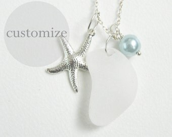 CUSTOM White Sea Glass Charm Necklace, Pearl, Starfish, Silver, Genuine Beach Glass Jewelry
