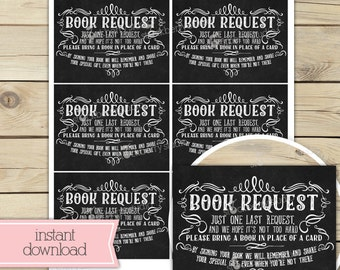 Chalkboard Baby Shower Book Request Card - Book Request Baby Shower - Please bring a book instead of a card - Instant Download - Insert Card