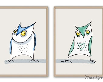 two owls print
