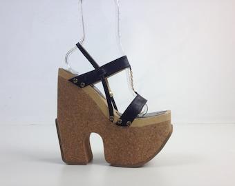 90's Luichiny Cork Mega Platform Wedge Leather Chain Strap Avant Garde Sandal Heels // 9.5