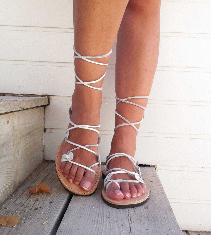 Gladiator Sandals White Sandals Wedding Sandals Leather