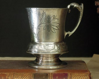 Vintage / Antique / Antique Silver Plate Cup / Baby Cup / Aesthetic Movement / 1880 / Sweet Bud Vase / S K Smyth Silver / Florence