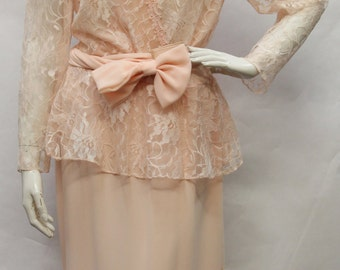 PATRA Vintage 90s Blush Lace Top Peplum Dress w/ Velcro Sash SZ 12 (vintage sizing), V50083