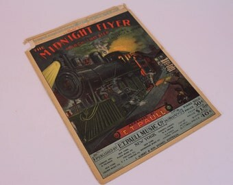"Antique Sheet Music 1903 ""The Midnight Flyer"" Two Step March for Piano  - Train Art"