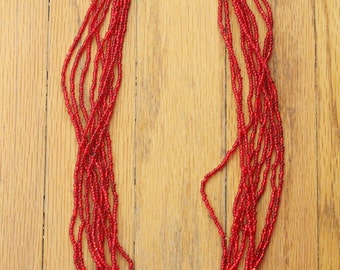 Vintage 80's Red Glass Seed Beaded Multi Strand Necklace