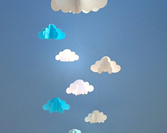 Cloud Baby Mobile, Hanging Baby Mobile, 3D Paper Mobile, Nursery Mobile, Baby mobile, Nursery Crib Mobile