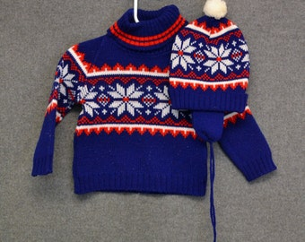 1970s Child's Sweater and Hat Set