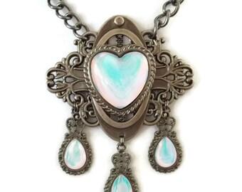 Moon Glacier Opal Edwardian Heart Filigree Necklace