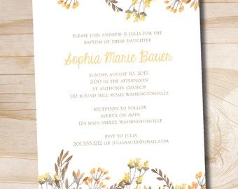 Watercolor Wildflower Floral Baptism Christening Communion Invitation - Printable digital file or printed invitations
