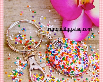 Candy Sprinkle Key Ring ,Sweet Love Candy Sprinkle Resin Key Ring, Kawaii, Handmade By: Tranquilityy