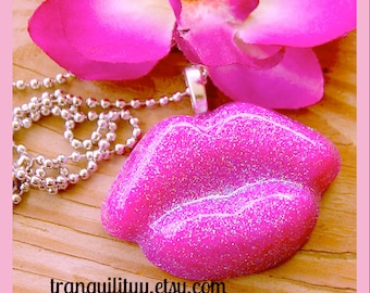 Pink Lips necklace ,Kiss Me Hot Pink Frosted Glitter Necklace / Hair Clip Big Kiss Resin Lips Necklace ,Handmade  By: Tranquilityy