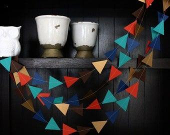 Triangle Garland, Modern Garland, Geometric Garland, Paper Garland, Blue and Orange Triangle Garland