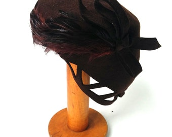 1940s Brown Wool Felt and Feather Hat.
