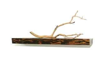 Reclaimed wood live edge floating shelf - 24""