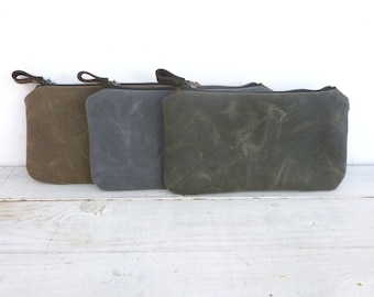 Waxed canvas pouch/satchel small bag pencil pouch
