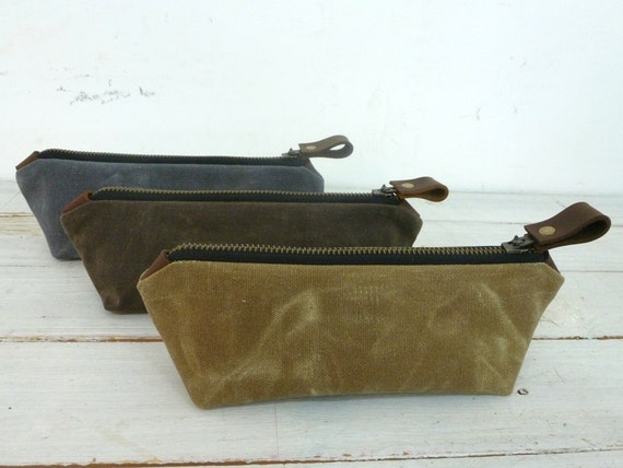 Waxed canvas pencil pouch / small pouch with zipper