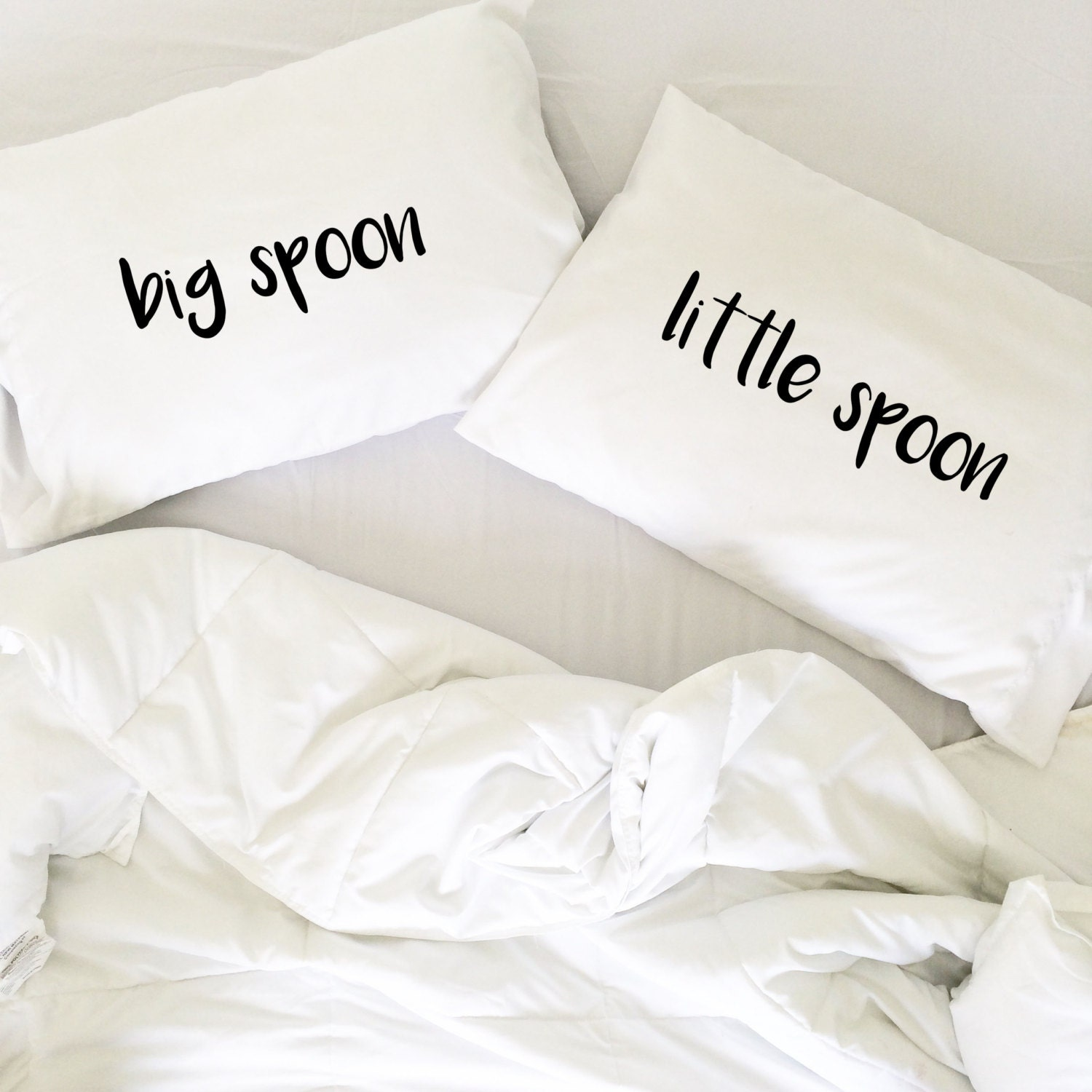 Wedding Gift Big Spoon Little Spoon Pillow Cases For Couples