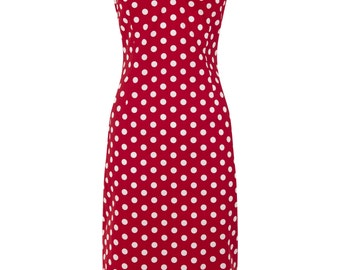 New Vintage Style Red Polka Dot Dolores Wiggle/Pencil Dress Rockabilly Pin Up 50s