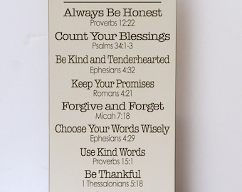 Scripture Family Rules Wood Sign, Farmhouse Style, Religious Home Decor, Scripture Rules, Farmhouse, Scripture Sign, Bible Verse, Rustic