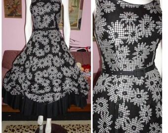 1950's CANDY JONES Gingham Floral Party Dress With Rhinestones Full Skirt  with Belt DEADSTOCK Sundress 29 waist Designer Rockabilly VlV