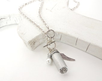 SILVER BULLET NECKLACE - charm necklace - April birthstone - bullet jewelry - clear crystal - upcycled/eco-friendly - under 35